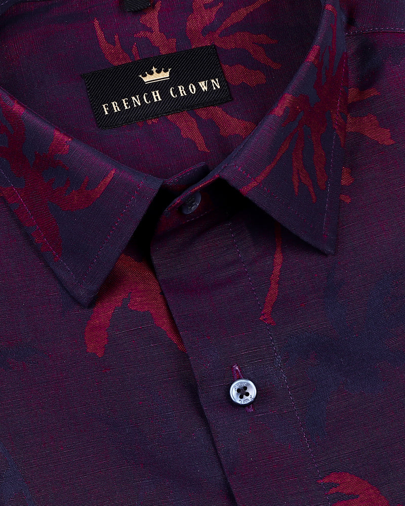 Maroon with navy Coconut Tree Jacquard Luxurious Linen Shirt