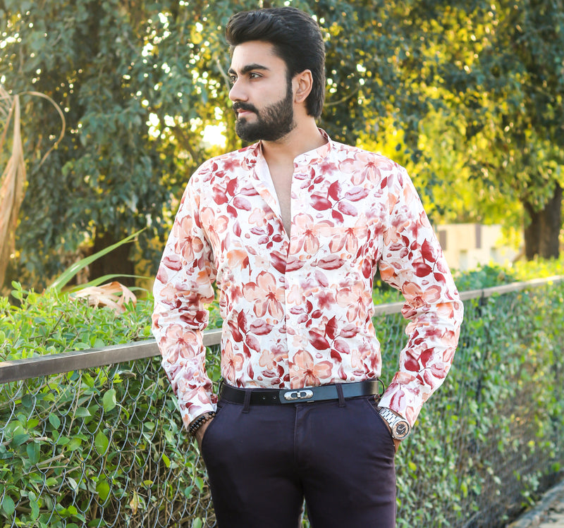 Maroon with Orange Flora Print luxurious Linen Shirt