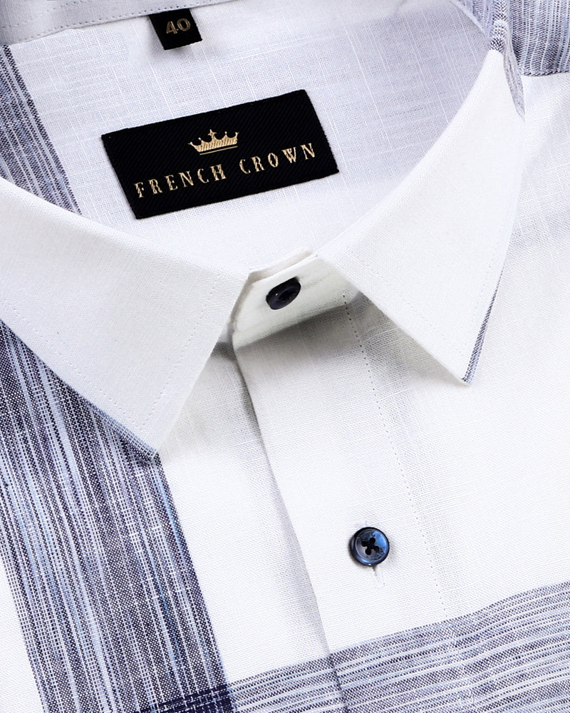 White with Blue Broad Windowpane luxurious Linen Shirt