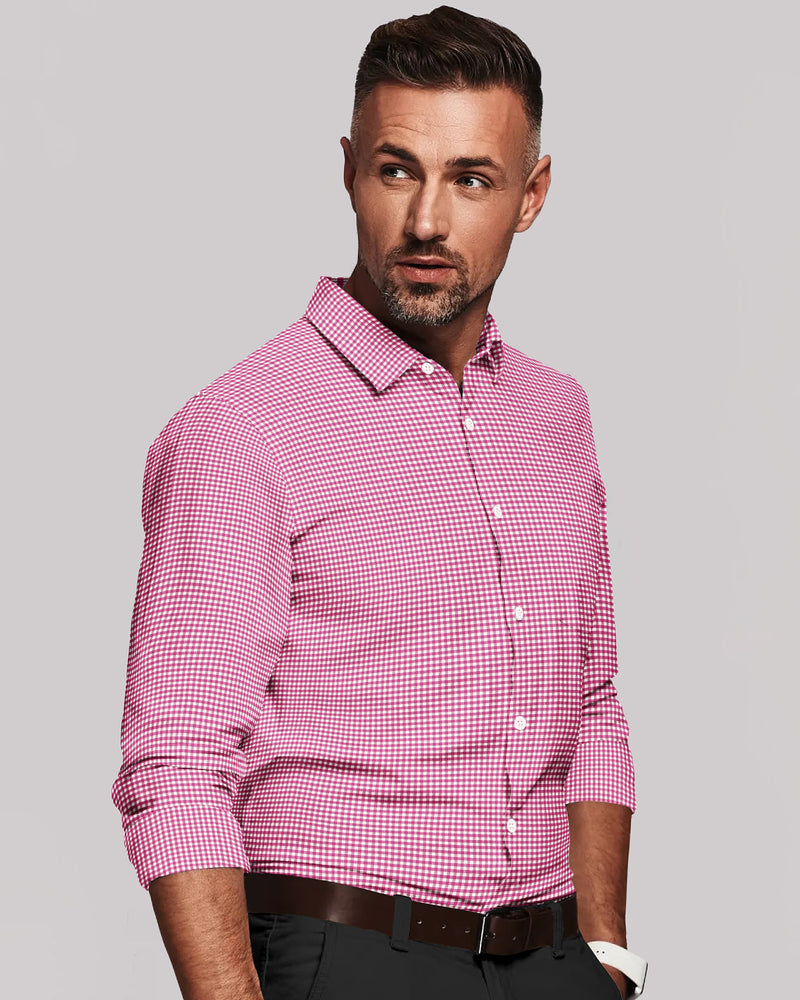 Pink with White Micro Checked luxurious Cotton Linen Blend Shirt