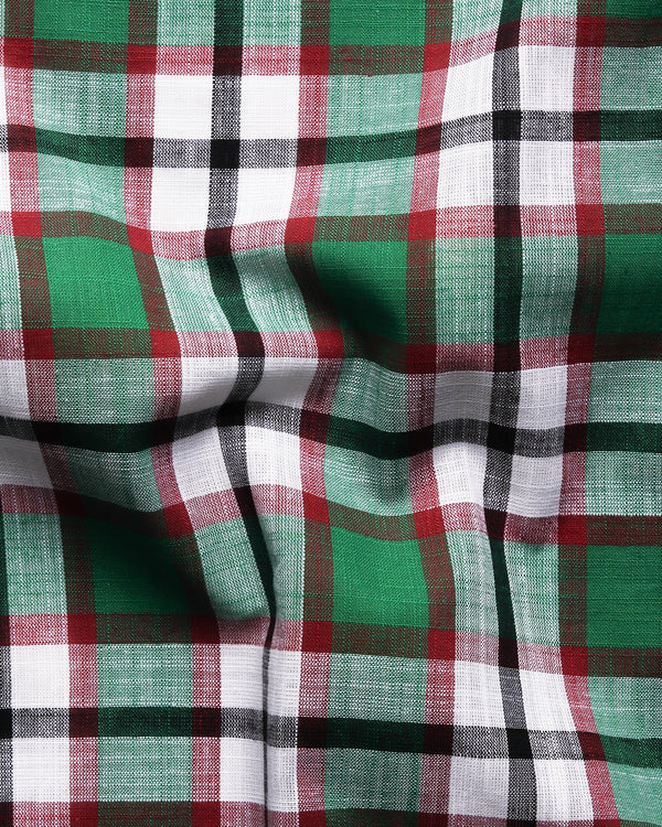 Green Checked luxurious Linen Shirt