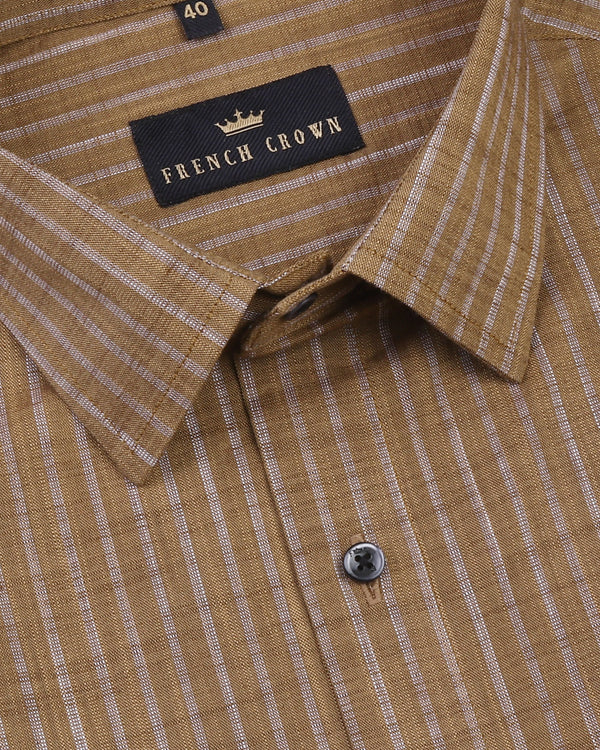 Brown Striped Luxurious Linen Shirt