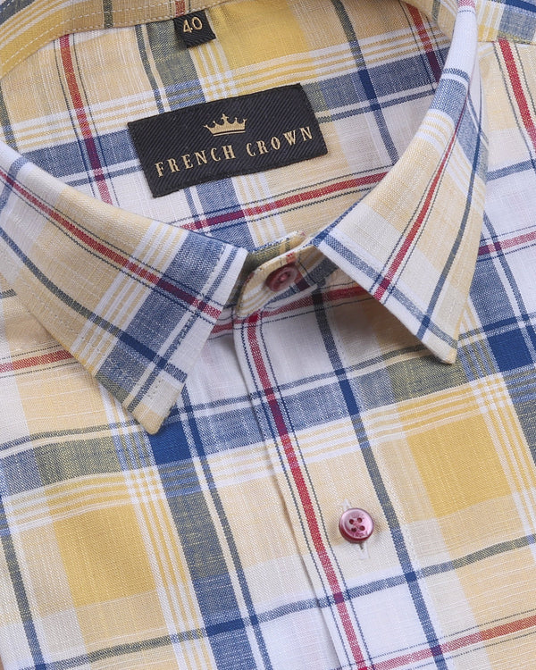 Yellow Madras Plaid Luxurious Linen-Cotton Blend Shirt