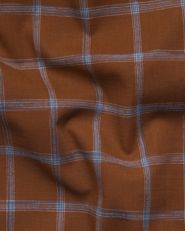 Brown Windowpane Luxurious Linen-Cotton Blend Shirt