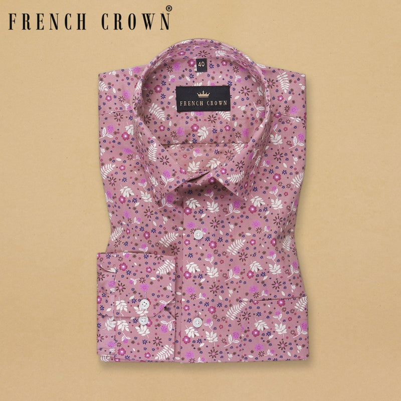 Rust Pink Printed Premium cotton Shirt