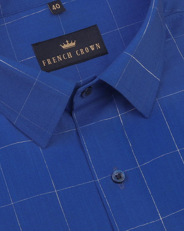 Blue with Silver windowpane Luxurious Linen Shirt