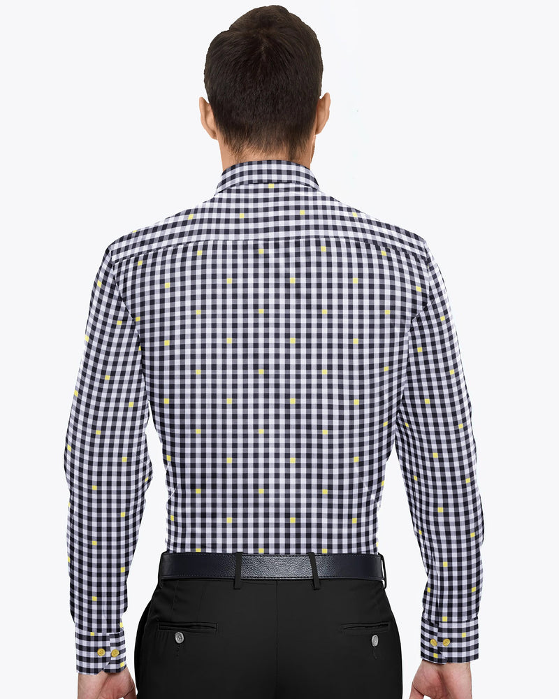Black and white with hint of yellow Gingham Premium Cotton Shirt
