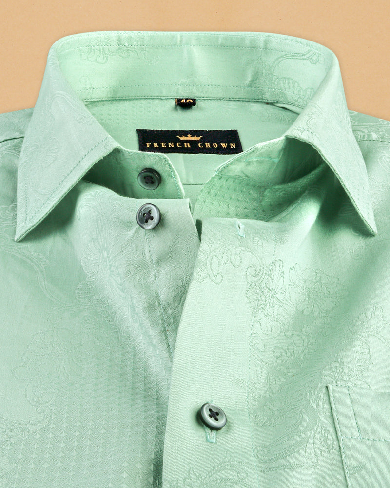Mint Flowers and Diamonds Jacquard Textured Silky Giza Cotton Evening SHIRT