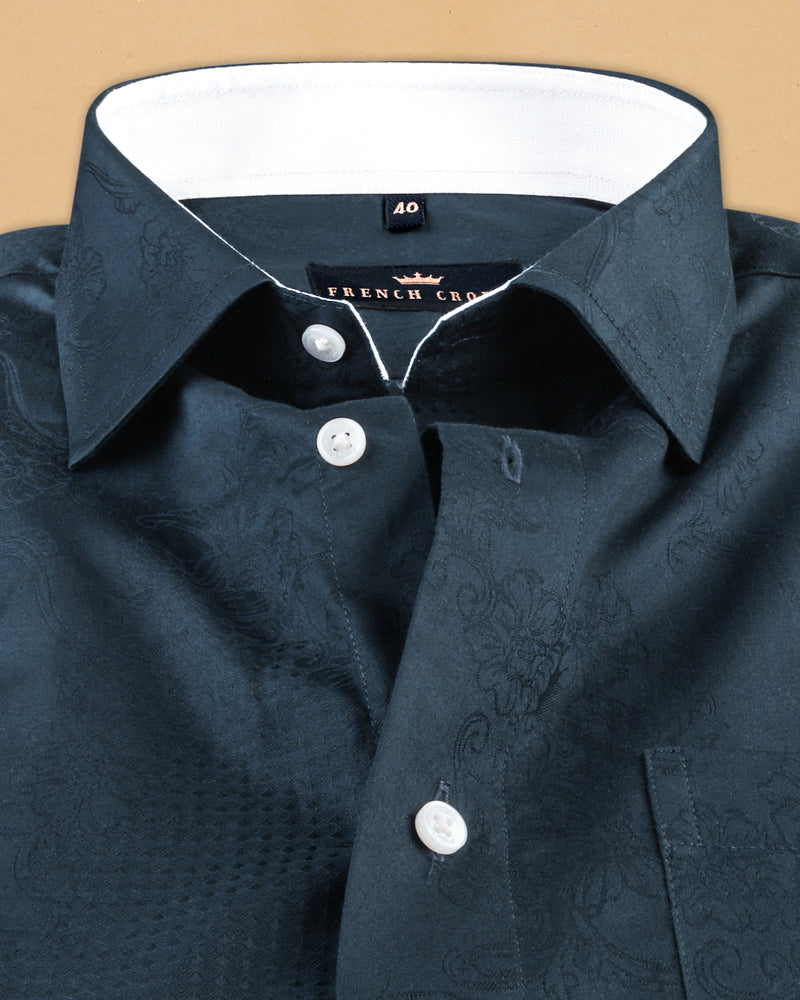 Navy Flowers and Diamonds Jacquard Textured Silky Giza Cotton Evening SHIRT