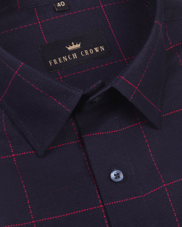 Navy with Red embroidered Windowpane Dobby Giza Cotton shirt