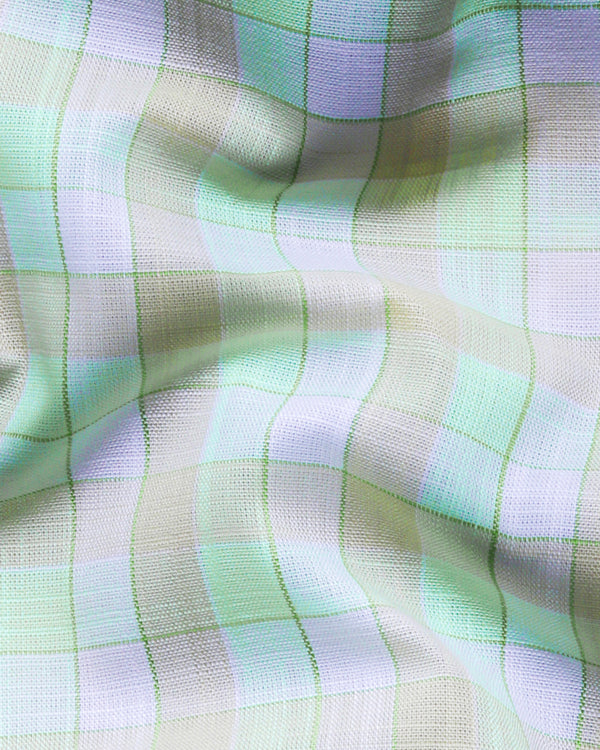 Light Mint Gingham Luxurious Linen-Cotton Blend Shirt