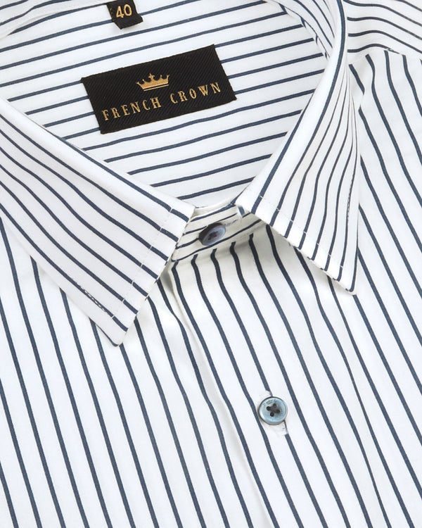 Bright white with navy striped Premium Cotton SHIRT