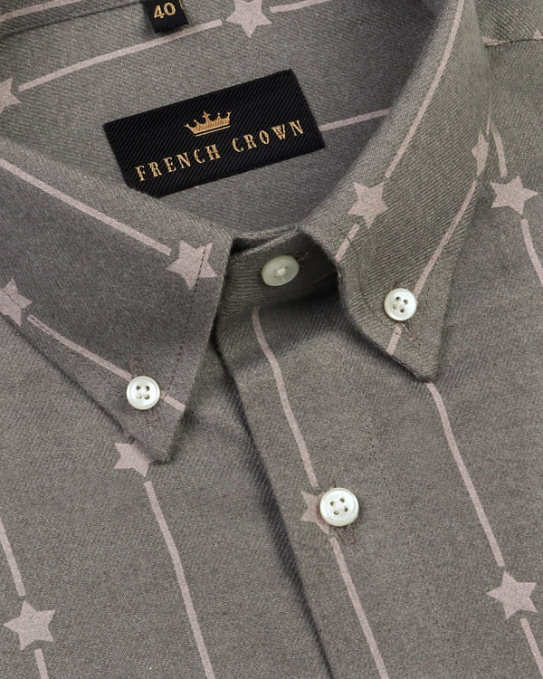 Iron grey Star Printed Heavy weight Buttery Corduroy Cotton Shirt