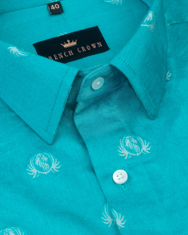 Olympic Blue lion Jacquard Textured Silky Giza Cotton Evening SHIRT