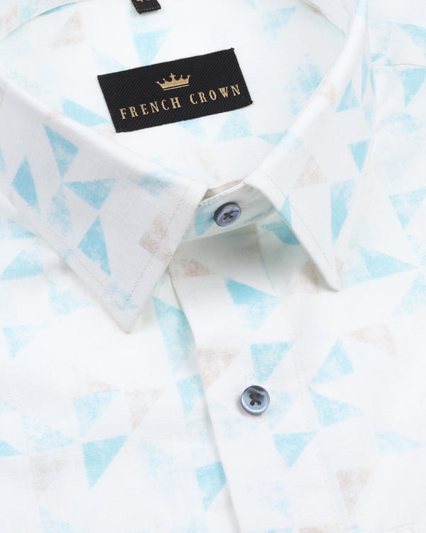 Bright white with sky and brown triangle Printed Luxurious Linen Shirt