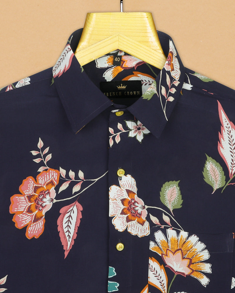 Navy Colourful Flowers Printed Beach Shirt
