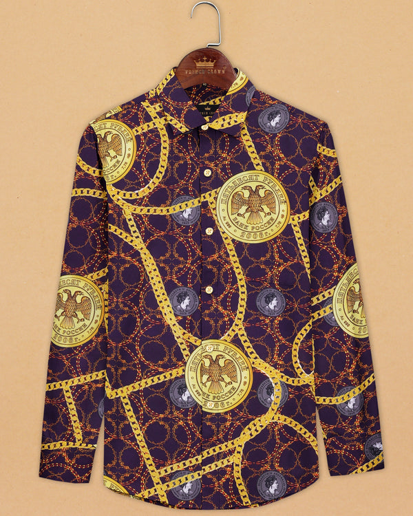 Purple Elizabeth Coins and Chains Print Oxford Shirt