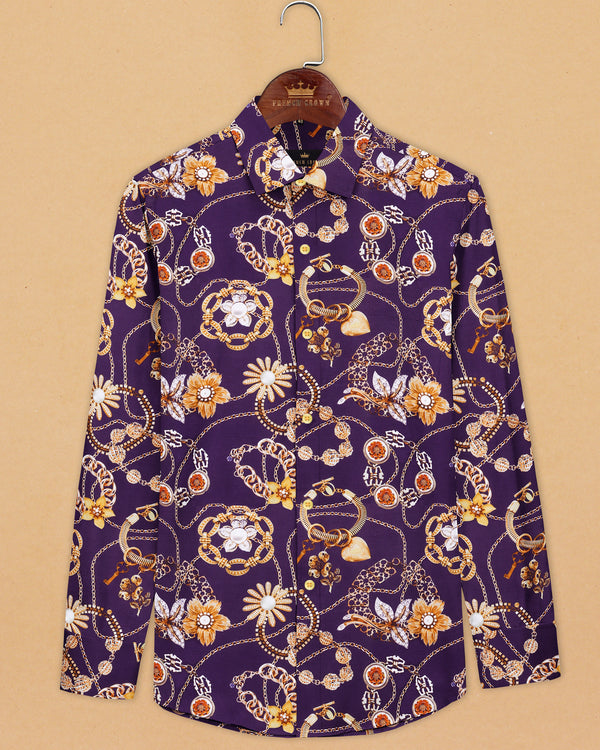 Purple with golden garden and jewellery Print Oxford Shirt
