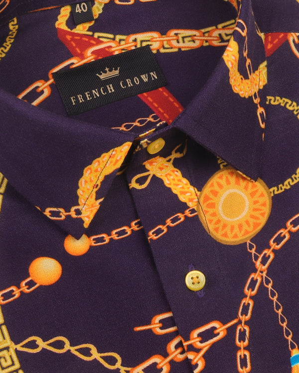 Purple with Golden chains and leather Belts Print Oxford Shirt