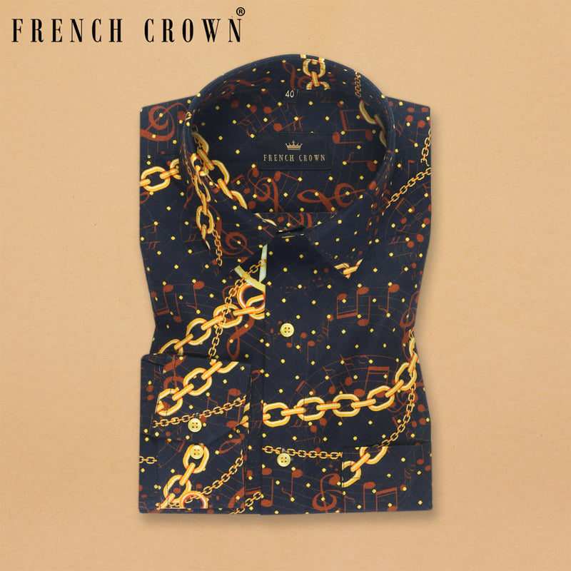 Black with Golden chains and Moon Print Oxford Shirt