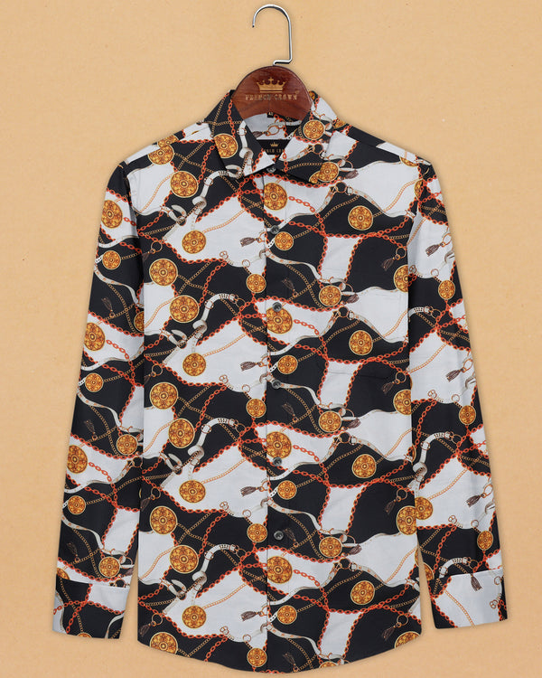 Black and white with Golden chains and Coins Print Oxford Shirt