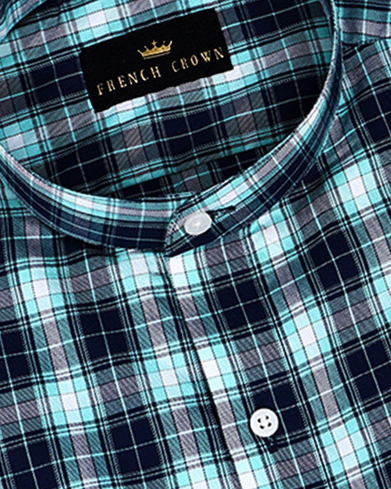 Shamrock Green and Blue Checked Twill SHIRT