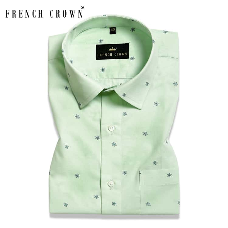 Sea form Green Printed Ultra soft Giza Cotton SHIRT