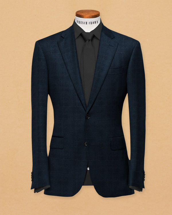 Navy Subtle Windowpane textured Terry Rayon Blazer
