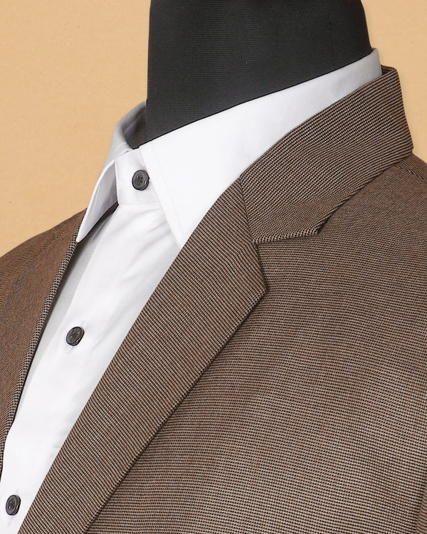 Brown Pinpoint textured Blazer