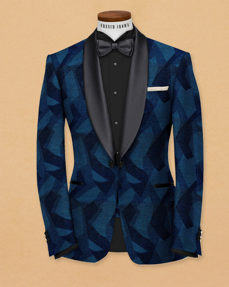Blue Abstract Print Super Soft Designer Tuxedo Blazer