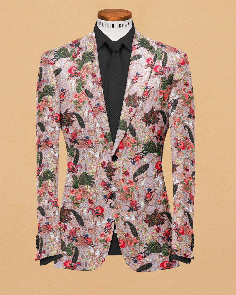 Cream based Colorful Paisleys and Flower Print Premium Designer Blazer