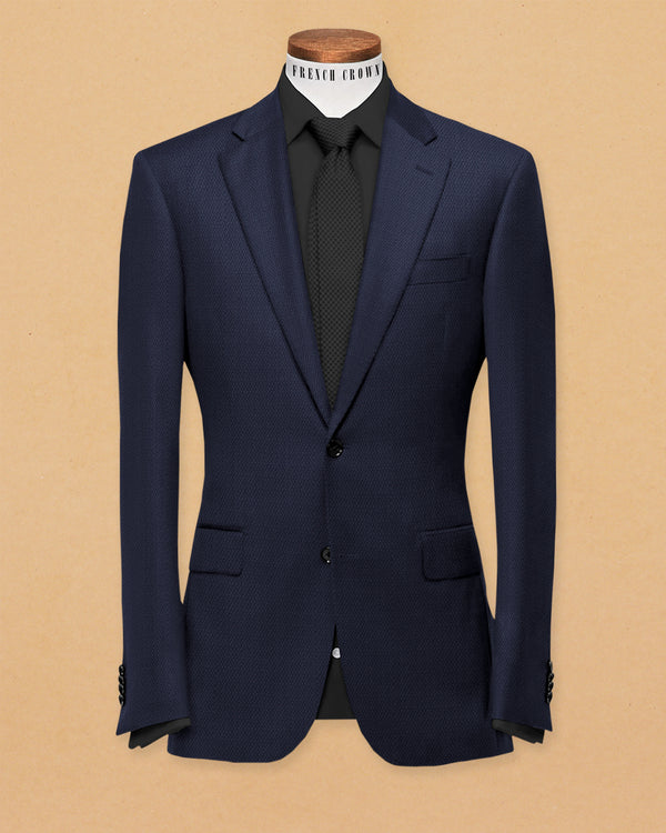 Berry Blue Diamond Textured Blazer