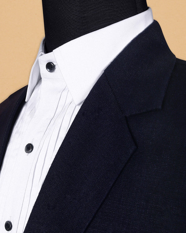 Dark Blue Linen Performance Blazer