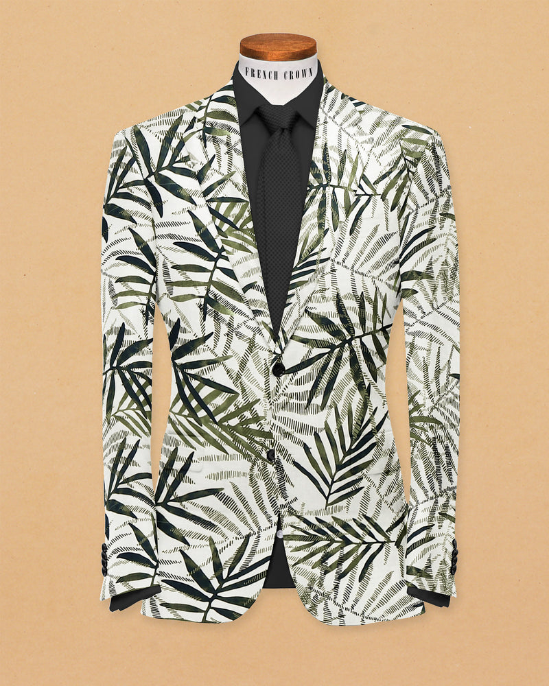 Green Tropical Print Designer Blazer
