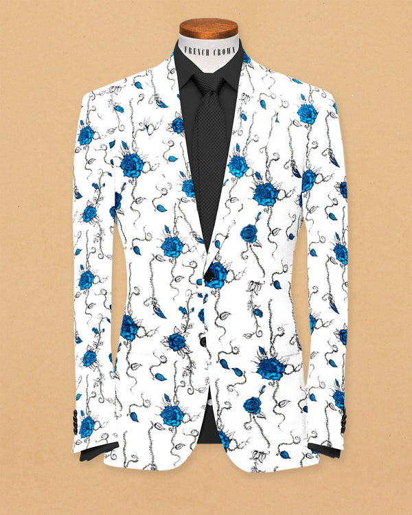 Bright White Flower Print luxurious Linen Designer Blazer