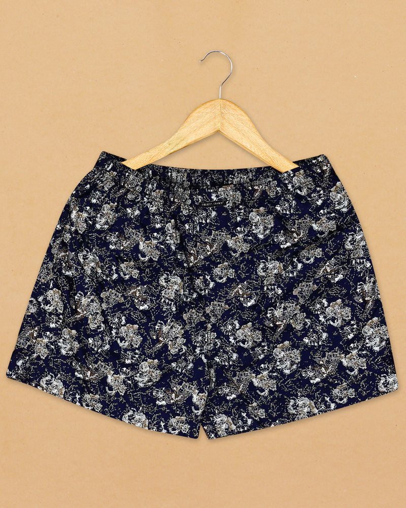 Navy Printed and Cream Jacquard Printed Giza Cotton Boxers