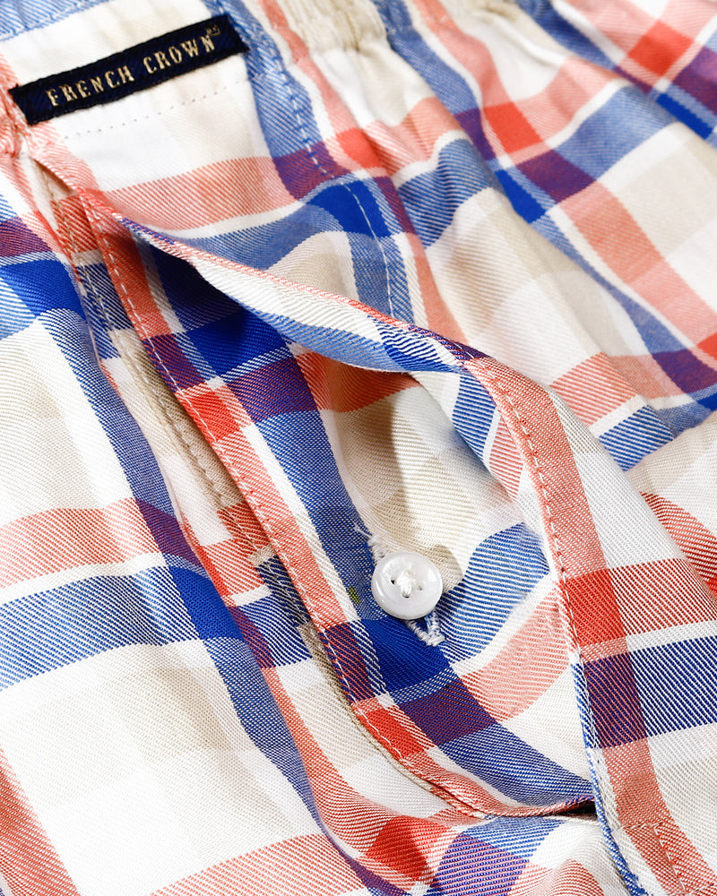 Cream checked and White Striped Premium Cotton Boxers