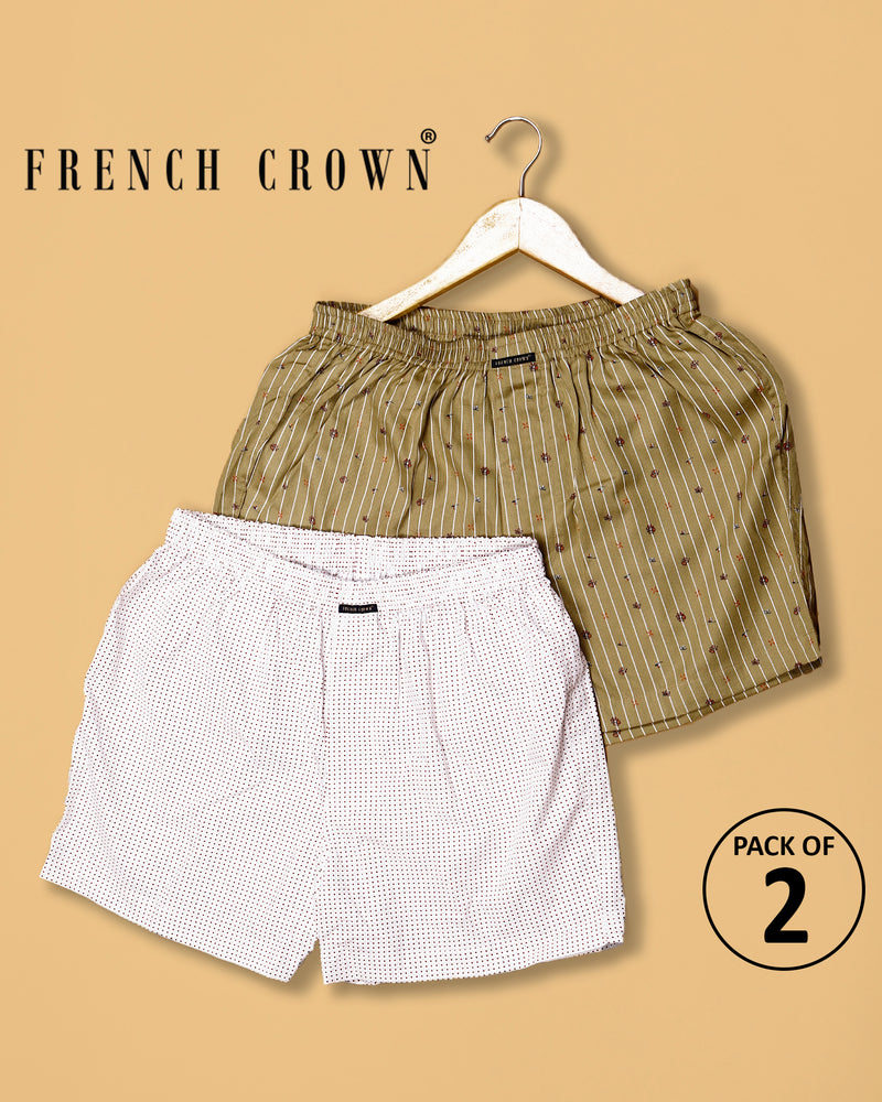 Olive Printed and White Printed Premium Cotton Boxers