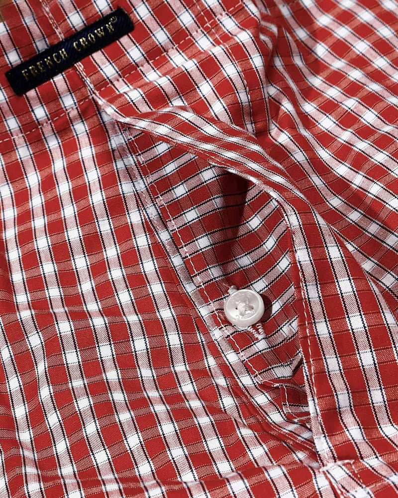 Red Checked and White Twill Printed Boxers