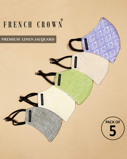Premium Linen Jacquard Masks - Pack of 5.