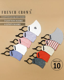 Côme-French Crown Pack of 10 Linen/Cotton Masks