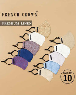 Samuel-French Crown Pack of 10 Linen Masks
