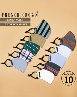 Camille-French Crown Pack of 10 Linen/Cotton Masks