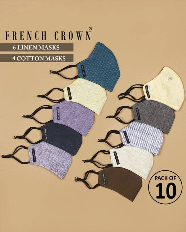 Isaac-French Crown Pack of 10 Linen/Cotton Masks