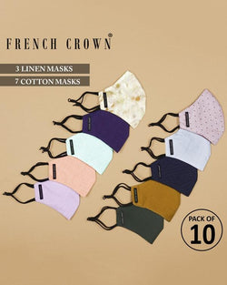 Clement-Thomas-French Crown Pack of 10 Linen/Cotton Masks