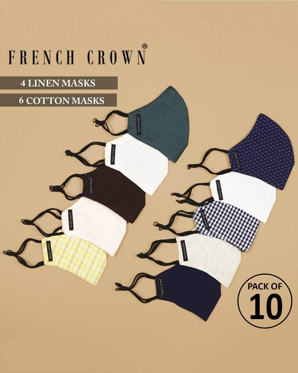 Alexis-French Crown Pack of 10 Linen/Cotton Masks