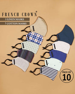Ali-Thomas-French Crown Pack of 10 Linen/Cotton Masks
