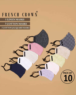 Elias-French Crown Pack of 10 Linen/Cotton Masks