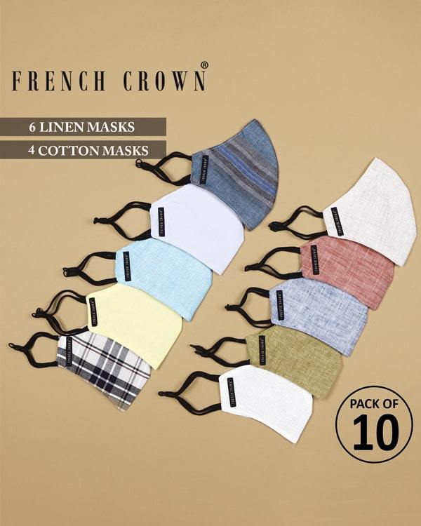 Amir-French Crown Pack of 10 Linen/Cotton Masks