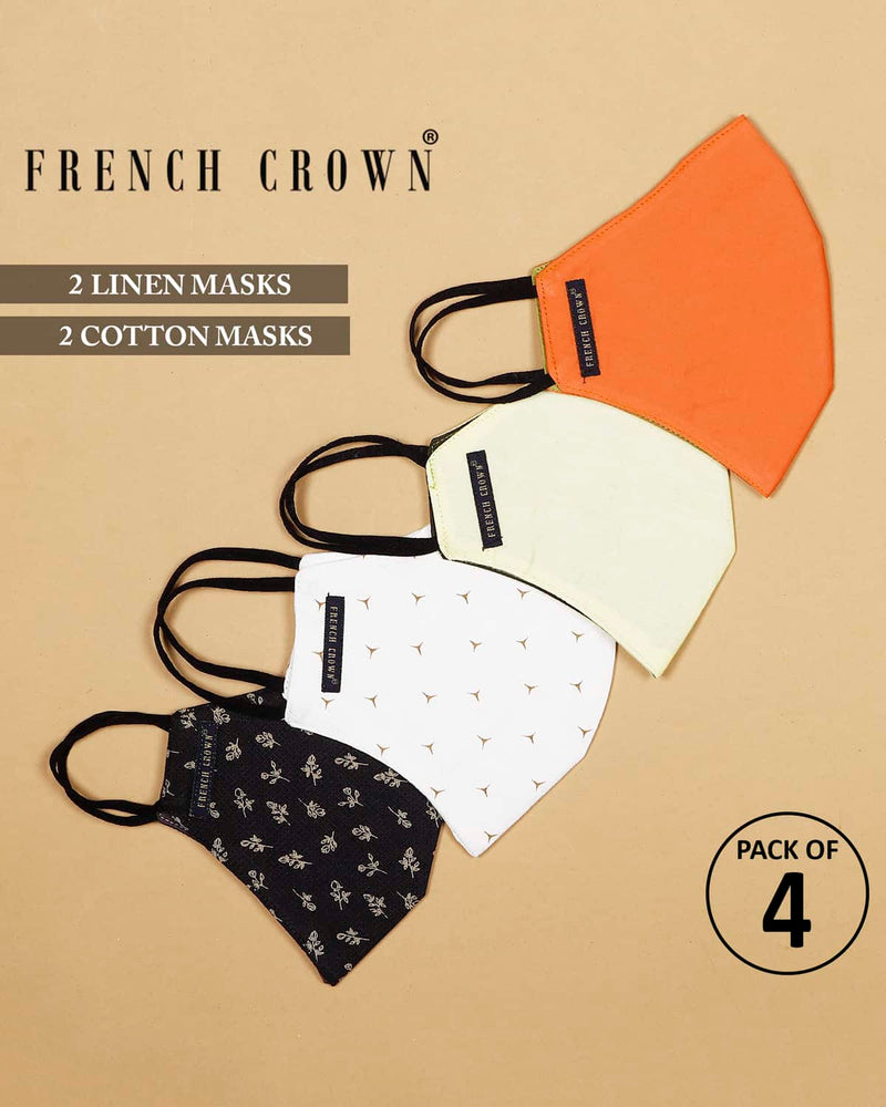 Davis-French Crown Pack Of 4 Linen/Cotton Masks